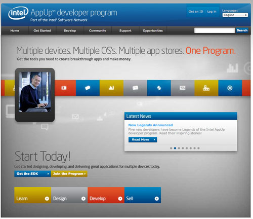 Intel app developer website